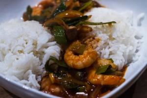 Scampi Asiatisch mit Reis