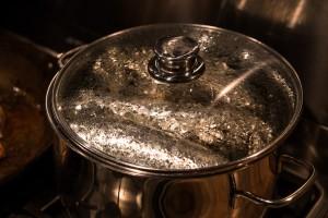 In kochendem Wasser simmern lassen